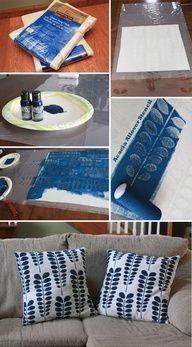 Acacia Allover Stenciled Pillow Shams with #CuttingEdgeStencils