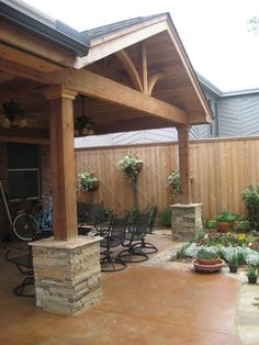 Types of Gable Roof styles. Side Gable: A side gable is a basic pitched roof. It has two equal panels pitched at an angle, meet at a ridge in the middle of a building. Garage Pergola, Pergola With Roof, Wooden Pergola, Pergola Shade, Pergola Patio, Pergola Plans, Pergola Kits, Backyard Patio, Pergola Ideas