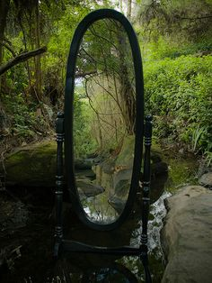 a whimsical mirror in the garden wall just might work