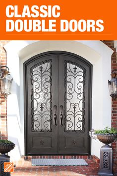 Puerta doble - Puertas frontales - Puertas exteriores - The Home Depot The Home Depot Home Depot, Exterior Front Doors, Entry Doors, Entryway, Front Entry, Beautiful Front Doors, House Trim, Wrought Iron Doors, Front Door Design