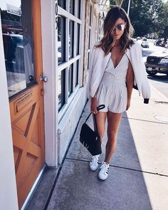 Pin for Later: Summer Style Doesn't Get Any Easier Than These 14 Outfits Embrace the Weekend Look With a Bomber Jacket and White Sneakers