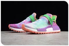 9164166bac26f 2019 Pharrell x adidas NMD Hu Race Trail Holi Chalk Coral Flash Green-Lab  Purple
