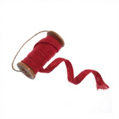 Christmas Red Jute Trim 2m On Wooden Spindle