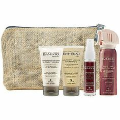 Alterna Bamboo Volume Beauty-On-the-Go Kit-4 ct. by Alterna. $26.00. Bamboo 48-Hour Sustainable Volume Spray .85oz. Bamboo Uplifting Root Blast Travel Size 2.2oz. Bamboo Abundant Volume Shampoo - Travel Size 1.35oz. Bamboo Abundant Volume Conditioner Travel Size 1.35oz. A $38 ValueWherever your travels take you the BAMBOO Volume On-The-Go Kit contains everything you need to cultivate strong, thick, voluminous hair. Made with strengthening, eco-certified Bamboo and energizing...