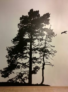 Painted pine tree silhouette from a photo taken in Espoo, Finland.