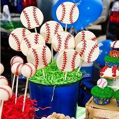 Hit a homerun with these cookies-on-a-stick! Insert sticks into cut-out cookie dough before baking and use frosting for the finishing touches. Click on 'em for the how-to... You know you want to ;)