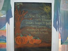 """Now the winds are blowing  Leaves begin to fall  Floating orange feathers cover nature's hall"""