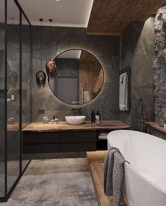 """This bathroom has dark-toned interior and it looks amazing"" Home Room Design, Home Interior Design, Interior Decorating, Interior Colors, Interior Livingroom, Washroom Design, Bathroom Design Luxury, Bathroom Styling, Bathroom Inspiration"