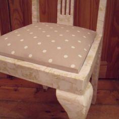 Decoupage chair with polka dot fabric