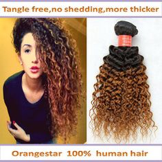 Online Shop Queen Brazilian Curly Ombre hair extensions 3 bundles Color 1b/30