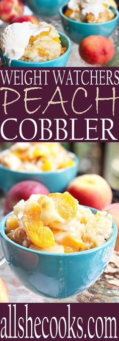 Now you can eat one of your favorites on Weight Watchers diet. Weight Watchers P. - Now you can eat one of your favorites on Weight Watchers diet. Weight Watchers Peach Cobbler recipe is easy and delicious. Just make sure to use small bowls! Low Calorie Desserts, Ww Desserts, No Calorie Foods, Low Calorie Recipes, Dessert Recipes, Dinner Recipes, Budget Desserts, Healthier Desserts, Diet Foods