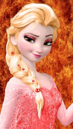 Frozen~Fire Elsa... HAHAHAHHA with fire nation symbols in her hair! ha!