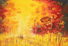 Autumn City, Palette Knife Oil Painting