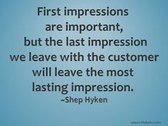 First and last impressions