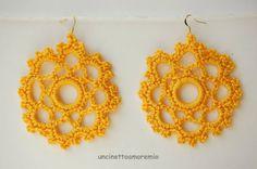Orecchini crochet Surya in giallo, by Uncinettoamoremio, 14,00  su misshobby.com