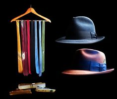 thin ties in fun colors with these great hats are a great way to incorporate vintage into a man's wardrobe.
