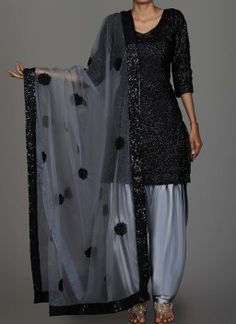 Black and Grey Sequins Embroidered Punjabi Suit features a sequins embroidered kameez with santoon inner, satin bottom and embroidered net dupatta. Patiala Suit Designs, Kurta Designs Women, Kurti Designs Party Wear, Indian Fashion Dresses, Dress Indian Style, Indian Outfits, Indian Clothes, Indian Wear, Stylish Dress Designs