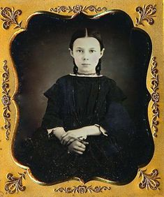 In 1852 Abbie was nine years old. Her gaze is steady, her demeanour is sure, and she has a ring on her forefinger. She also has one on her thumb and little finger. Abbie obviously liked rings. (Abigail Diantha Gold)