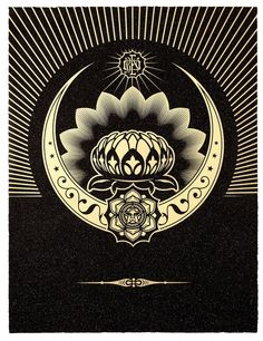 Shepard Fairey (Obey), Obey Lotus Crescent (Black & Gold)