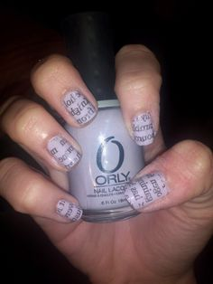 Orly's Dance Til Dawn (a favorite of mine!) with my school's newspaper rubbed on. Should I make a video tutorial on how to do this?