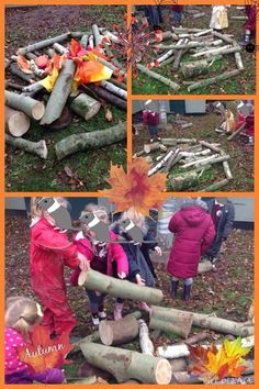 The groundskeeper had been around so we took advantage and made 'bonfires'! #eyfs #earlyyears #autumn #bonfirenight #bonfires #bonfireseason #aceearlyyears
