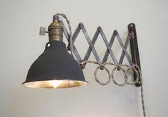 Industrial Scissor Articulating Wall Lamp Light - Antiqued Patina - Steampunk Lamp - Mirrored Dark Gray Shop Light & Shade