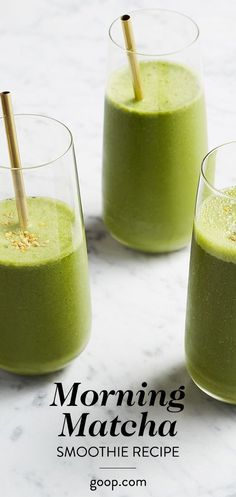 Morning Matcha smoothie recipe for a healthy, easy, filling breakfast.