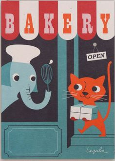 Bakery Illustration by Ingela P Arrhenius Lagom Design, Gatos Cat, Digital Illustration, Graphic Illustrations, I Love Cats, Cat Art, Poster Prints, Posters, Illustrators