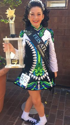 Beautiful Green Gavin Doherty Irish Dance Dress Solo Costume For Sale