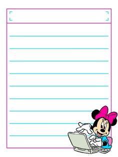 """Minnie with Laptop with title box - Project Life Disney Journal Card - Scrapbooking. ~~~~~~~~~ Size: 3x4"""" @ 300 dpi. This card is **Personal use only - NOT for sale/resale** Logos/clipart belong to Disney. ***Click through to photobucket to see this this card with lots of different characters***"""