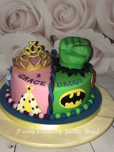 Combine two themes for a joint birthday Princess and superhero cake! Combined Birthday Parties, Sibling Birthday Parties, Joint Birthday Parties, Theme Parties, Birthday Cake For Father, Twin Birthday Cakes, Happy Birthday, Twins Cake, Dog Cakes
