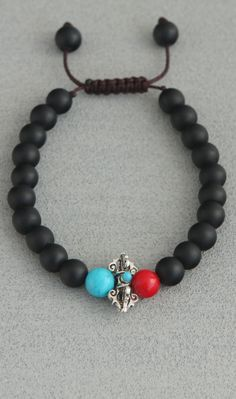 Black Onyx Vajra Bracelet with Coral and Reconstituted Turquoise