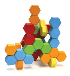Who knew geometry could be so beautiful? 24 hexactly blocks fit together with precision. Hexactly is simple design that inspires complex thought. Create intricate structures with hexactly blocks' consistent angles, generous thickness. Includes: 24 he Stacking Blocks, Stacking Toys, Blocks For Toddlers, 3d Prints, Bath Toys, Wooden Blocks, Wooden Puzzles, Creative Thinking, Wood Toys