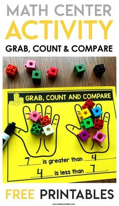 Freebie Included Hands-on math center activity freebie! This game is Grab, Count and Compare. Students count and compare quantities using more, less, greater than and fewer. This is a great math center activity! Math Tubs, 2 Kind, Math Numbers, Decomposing Numbers, Numbers Preschool, Fun Math, Math Math, Math Fractions, Infant Activities