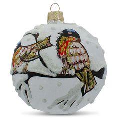 "3.25"" Bullfinch Birds on a Snow Branch Glass Ball Christmas Ornament"