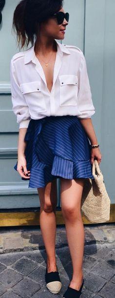 #spring #summer #highstreet #outfitideas |White Blouse + Striped Skirt