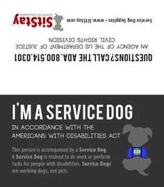 Service Dog Card This service dog card is a simple tool for service dog owners to assist you when entering...