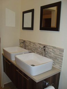 Freestanding Bathroom Vanity With Tile Backsplash Google Search