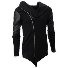 FLATSEVEN Men's Slim Unbalanced Zip Up Jacket (JKU) #FLATSEVEN #JACKET #MEN #HALLOWEEN