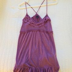 American Eagle Purple Ruffle Tank Top Cute Ruffled tank.  Never worn American Eagle Outfitters Tops Tank Tops