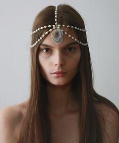 Pearl Chain Headpiece w/ Raw Crystal