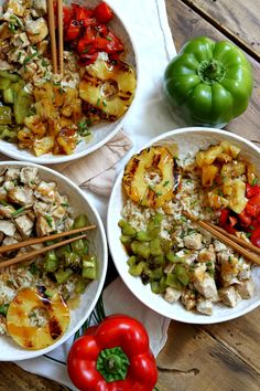 Grilled Chicken and Pineapple Rice Bowls with Teriyaki Glaze Recipe - from RecipeGirl.com @Dole Packaged Foods #SharetheSunshine #DoleGrilling #ad