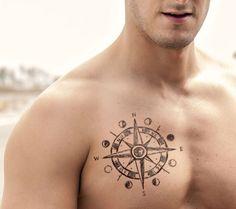 Best Compass Tattoo Design Ideas, Compass Chest Tattoo