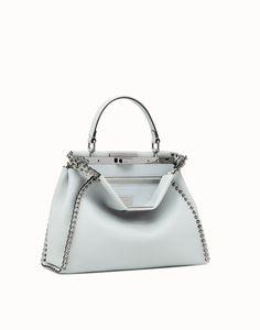 bfd0f3a1e6d7 FENDI PEEKABOO REGULAR - Pale blue leather bag - view 2 zoom Fendi Online