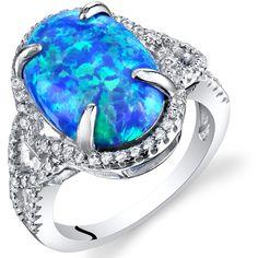 Silver 925 SF Size 9 Ring Blue Lab Opal /& 8mm Garnet /& White Topaz