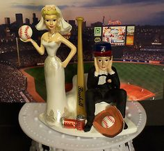 ATLANTA BRAVES STADIUM BASEBALL Got Ball Bride & Groom WEDDING CAKE TOPPER FUNNY