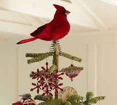 This is our new tree topper.  Cardinals makes me think of my Grandma Reilly. She loved them and the color red. Thank you Pottery Barn. I have searched for 13 years for the perfect topper on my tree and finally found it!!!