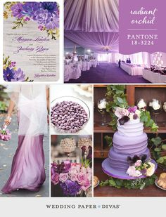 Pantone Radiant Orchid is the perfect hue to combine with a floral wedding theme. Make it playful yet elegant with a spectrum of purple shades.