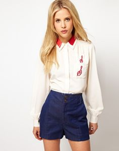 ASOS Diner Shirt With Embroidery