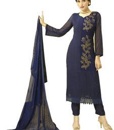 030bd72391 Buy Dark blue embroidered chiffon and nazneen unstitched salwar with  dupatta dress-material online Anarkali